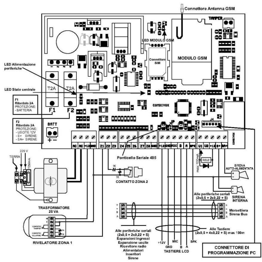 Schema Elettrico Sirena Autoalimentata : Sc cee centrale antifurto elisa combivox securvera